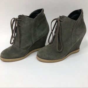 KELSI DAGGER Suede Hidden Wedge Ankle Booties